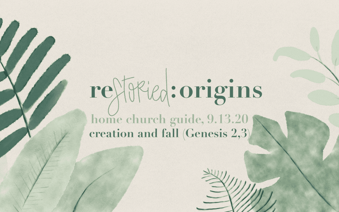 Home Church Guide, 9.13.20  : :  Restoried | Origins: Creation And Fall (Genesis 2,3)
